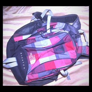 North Face Backpack Wasatch Bag red and gray